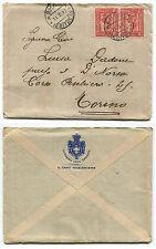 DA ASMARA, 1917, BUSTA + LETTERA CAPO RAGIONIERE, COPPIA C10 COLONIA ERITREA   m