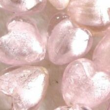 5 x Silver Foil Heart Beads - 20mm - Pale Pink - A3984