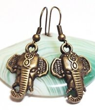 LUCKY ELEPHANT_Bronze Charm Earrings_India Africa Safari Ethnic Tusk Trunk Boho