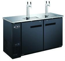 """SABA 60"""" Black Commercial Beer Cooler & Beer Tap Kegerator, 2 Doors, 24"""" Depth"""