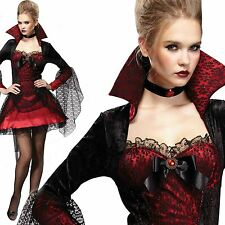 Ladies Gothic Short Sexy Vampire Mistress Halloween Dracula Fancy Dress Costume