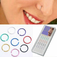Lots 40pcs/Box Stainless Steel Nose Studs Ring Hoop Body Piercing Jewelry Gift.