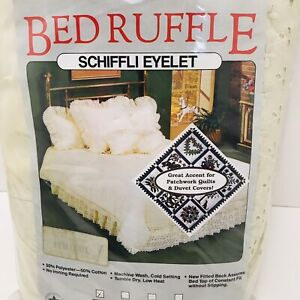 VTG Ivory Schiffli Eyelet Lace Bed Skirt Ruffle Linen Twin Size New Old Stock