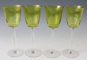 4x Art Nouveau crystal White Wine Glass, Jugendstil Stengelglas Otto Prutscher ?