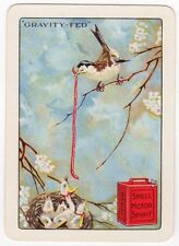 Playing Cards 1 Swap Card - Old Wide SHELL MOTOR SPIRIT Petrol Can BIRDS FEEDING