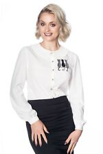 Kitty Cat Pleated Collar Rockabilly Retro Vintage 50's Blouse Top Banned Apparel