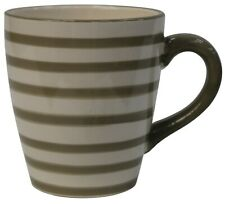 Set of 4 EXTRA Large Coffee Mugs Stoneware Striped Brown 480ml Capacity