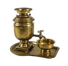 3pc Russian Miniature Brass Samovar set c1900 Three Hallmark Tula Emperor