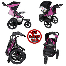 Rasberry Baby Jogger Stroller 3 Wheel All Terrain Lightweight Reclining Cup Case