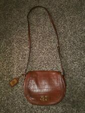 Ralph Lauren Crossbody Bag Croc Embossed Brown Leather Purse