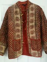 Vintage Indian Block Print Cotton Jacket Like Phool & Anokhi UK 10/12 Excellent