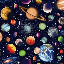 FAT QUARTER/PATCHWORK FABRIC - SOLAR SYSTEM by NUTEX - SCATTERED
