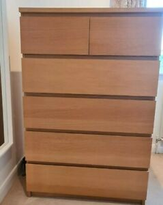 Ikea Malm Chest of 6 Drawers Oak