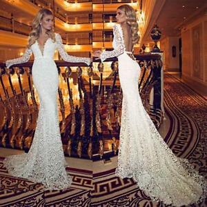 Sexy White/Ivory Mermaid Lace Wedding Dress Long Sleeve V Neck New Bridal Gown