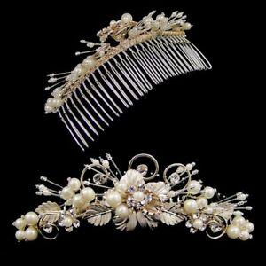 Grace Pearl & Leaf Wedding Comb Tiara (Gold)  (e2056ctg)