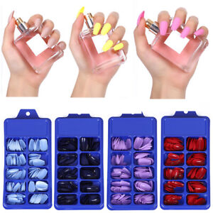 Press on Finger Coffin Fake Nails Solid Color Matte False Nail Full Cover