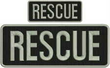 Rescue embroidery patches 4x10 and 2x5  hook on back silver