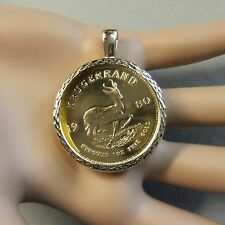 9ct gold New dia cut pendant will fit one Oz fine gold krugerrand bullion coin