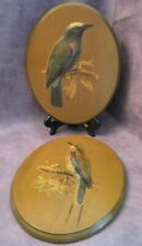 Vtg Bird Art Wall Plaque Pair - 3D Oval - Signed B Rice - Paper on Wood