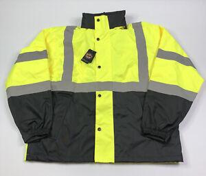Wild Wear Hi Visibility Reflective Bomber Jacket Size Mens Large Work Coat - New