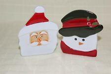 Partylite Pair of Santa/Snowman Tealight Candle Holders
