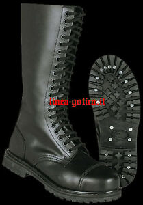 Anfibi stivali pelle 20 buchi dark gothic rock punk metal numero 38 39 40 41