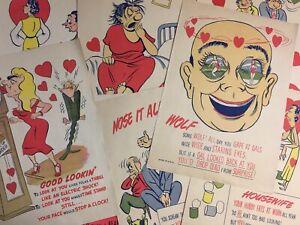 8 Vintage Colorful Cartoon Art Jokes Full Size Magazine Pages Risqué Humor 1950s