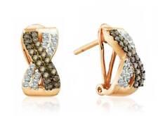 10K Rose Gold Chocolate Brown & White Diamond J Hoop Earrings .50ct Omega Back