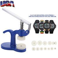 Crystal Bezel Press Case Back Closing Bench Rotate Watch Repair Tool 12 Dies USA