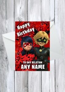 MIRACULOUS LADYBUG Birthday Card, Any Relation, name and age