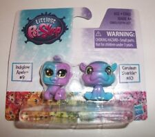 MINIATURE HASBRO LITTLEST PET SHOP INDIGLOW #9 & CERULEAN #10 TOY 2 PACK NIP