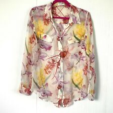 Equipment Femme Womens Chiffon 100% Silk Iris Print Long Sleeve Career Blouse L