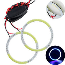 1Pair 60MM Car Led Headlight COB LED Halo Ring Angel Eyes White + Blue 12V 24V