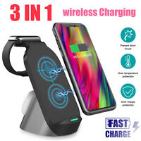 3in1 Qi Wireless Fast Charger Dock Stand 15W for 11 X Xs Watch5 Samsung S10Plus