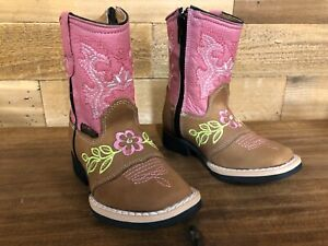 Genuine Leather Cowboy Western Square Toe Boots (Infant/Toddler With Side Zipper