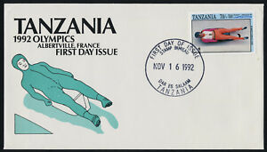 Tanzania 906 on FDC - Winter Olympics, Luge, Albertville