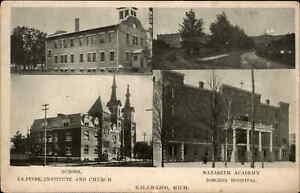 Kalamazoo MI Nazareth Academy Multi View c1905 Postcard