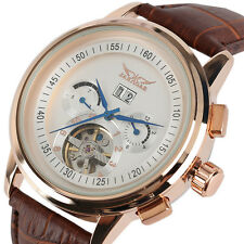 JARAGAR Luxury Mens Date Tourbillon Mechanical Self-Wind Military Wrist Watch