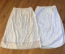2 VINTAGE Vassarette  Lorraine Half Slips - White Ivory Sz L 35.5 Long