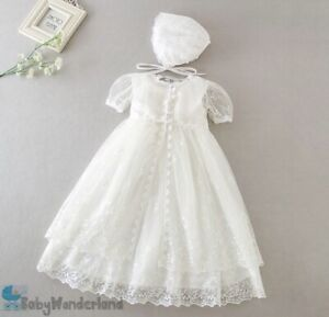 Baby Girl 3 Pcs White Christening Gown Baptism Birthday Lace Dress 0-2Years