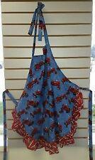 Blue International Farmall H and F Tractor Apron One Ruffle Gift