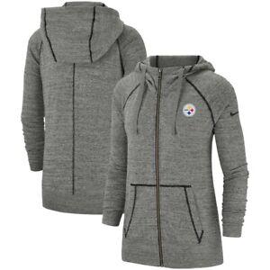 Pittsburgh Steelers Nike Women's Gym Vintage Raglan Full-Zip Hoodie - Gray SZ- S