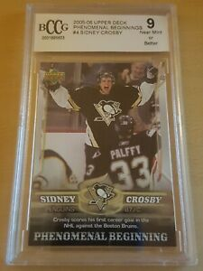 2005-06 UD Phenomenal Beginnings RC #4 Sidney Crosby Pittsburgh Penguins BCCG 9