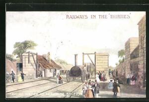 Künstler-AK englische Eisenbahn taking water at Parkside Station, Railways in t
