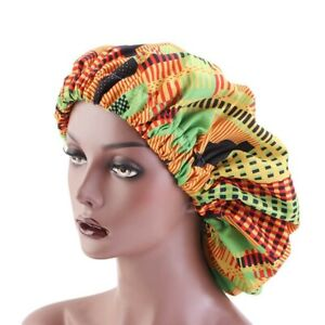 African Print Hair Bonnet Lined in Satin Large Size