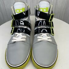 Radii Mens Straight Jacket Shoes Size 10 Volt Green/Gray/White Straps And Zipper