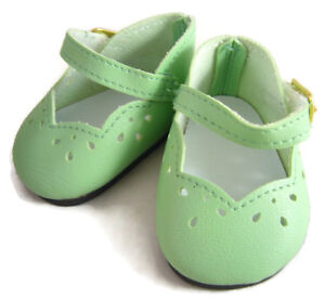 """Light Green Scalloped Dress Shoes made for 18"""" American Girl Doll Clothes"""