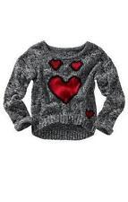 Damen Grobstrick Pullover schwarz weiß grau mit Herz leger XS 34 Winterwarm
