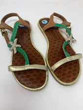 Juicy Couture Sz 7 Green & Gold Leather Embellished Alana Starfish Flat Sandals
