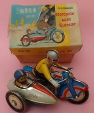 MOTORCYCLE TRICYCLE W SIDECAR TIN LITHO WIND-UP TOY & KEY BOXED CHINA '70s WORKS